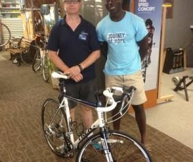 Reggie Quaye with his new bike